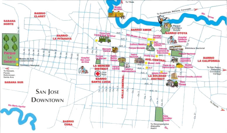 Costa Rica tourism and travel bureau San Jose Downtown map – Tourist Map Of Costa Rica