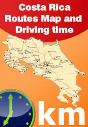 Costa Rica routes map, distances and driving times